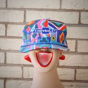1980s Chevrolet Trucker Hat Snap Back Cap SW Style
